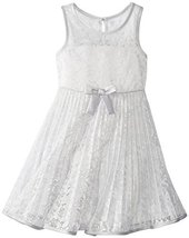Bonnie Jean Little Girls' Lace Sunburst Dress, Silver, 6X [Apparel]