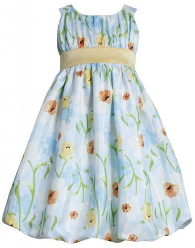 Aqua-Blue Yelow Daffodil Floral Print Shantung Bubble Dress AQ3SA, Aqua, Bonn...