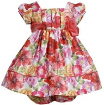 Coral Pleated Pull-Thru Floral Print Shantung Dress CO1HB, Coral, Bonnie Jean...
