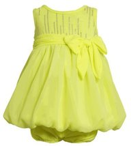Size-12M, Yellow, BNJ-2333S, 2-Piece Neon-Yellow Foil Dot Knit to Chiffon Bub...