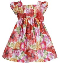Coral Pleated Pull-Thru Floral Print Shantung Dress CO2HA, Coral, Bonnie Jean...