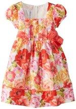 Bonnie Jean Little Girls' Printed Shantung Dress, Coral, 3T [Apparel] Bonnie ...