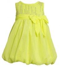 Size-2T, Yellow, BNJ-2333S, Neon-Yellow Foil Dot Knit to Chiffon Bubble Dress...