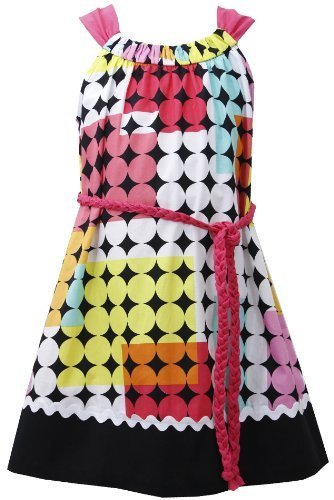 Fuchsia Braided Belt Geometric Square and Dot Print Dress FU3NA, Fuchsia, Bon...