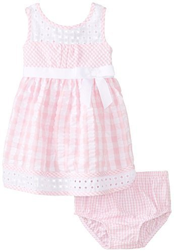 Bonnie Baby Baby-Girls Infant Seersucker and Eyelet Dress (18 Months, Pink)