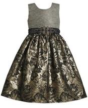 Gold Silver Beaded Waist Metallic Floral Brocade Dress GD3BU Bonnie Jean Litt...