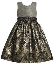Gold Silver Beaded Waist Metallic Floral Brocade Dress GD3NA Bonnie Jean Litt...