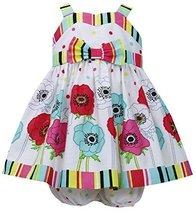 Baby-Girls 3M-24M Multi Stripes Floral Border Poplin Dress, Bonnie Baby (3-6 ...