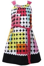 Fuchsia Braided Belt Geometric Square and Dot Print Dress FU4BA, Fuchsia, Bon...