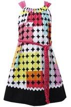 Fuchsia Braided Belt Geometric Square and Dot Print Dress FU4BA, Fuchsia, Bon...