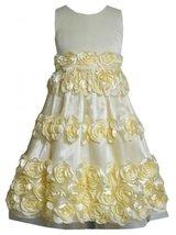 Yellow Bonaz Rosette Border Mesh Overlay Dress YL4MU, Yellow, Bonnie Jean Twe...