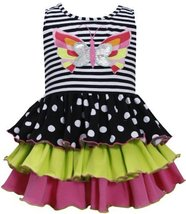 Black White Butterfly Applique Stripe to Tier Knit Dress BW2BA, Black/White, ...