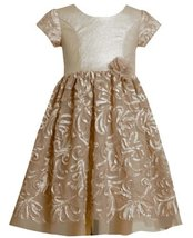 Pleather and Bonaz Soutache Mesh Overlay Dress GD3BU Bonnie Jean Little Girls...