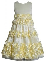 Yellow Bonaz Rosette Border Mesh Overlay Dress YL4MH, Yellow, Bonnie Jean Twe...