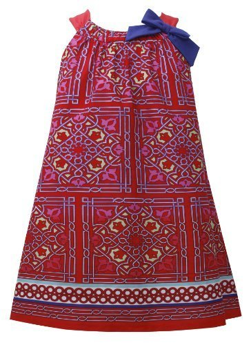 Red Blue Bow Shoulder Geometric Border Print Trapeze Dress RD3NA, Red, Bonnie...