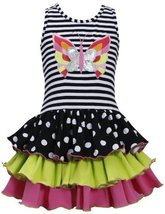 Black White Butterfly Applique Stripe to Tier Knit Dress BW3BU, Black/White, ...