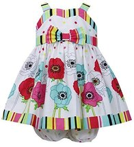 Baby-Girls Newborn 3M-9M Fuchsia Multi Stripes and Floral Border Poplin Dress...