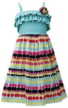 Aqua-Blue Multi Ruffle Knit to Dots-In-A-Row Print Dress AQ4MH, Aqua, Bonnie ...