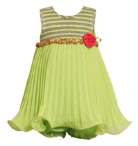 Size-24M, Green, BNJ-2295S, 2-Piece Green Striped Knit to Pleated Chiffon Wir...
