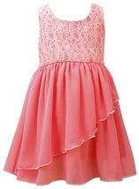 Coral Floral Burnout To Side-Wrap Chiffon High Low Dress CO3NA, Coral, Bonnie...