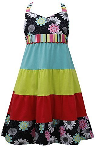 Little Girls 4-6X Multicolor Crossover Floral to Colorblock Tier Halter Dress...