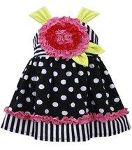 Bonnie Baby Baby Girls' Dot and Stripe Large Flower Dress, Black/White, 24 Mo...