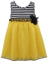 Yellow Black White Stripe Knit Laser Cut Chiffon Dress YL2BU, Yellow, Bonnie ...