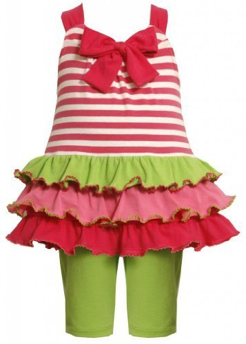 Size-24M, Fuchsia, 2-Piece Bow Front Stripes to Tiers Knit Legging Set,Bonnie...