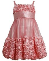 Coral Metallic Bonaz Border Mesh Bubble Dress CO 3BU, Coral, Bonnie Jean Litt...
