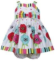 Baby-Girls Infant 12M-24M Multi Stripes Floral Border Poplin Dress, Bonnie Ba...