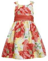 Orange Yellow Bright Floral Print Shantung Dress OR3BU, Orange, Bonnie Jean L...