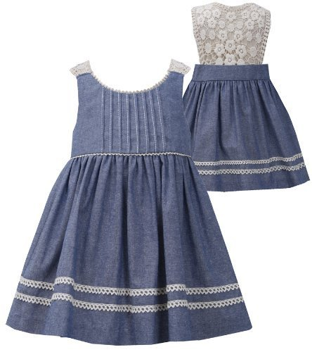 Bonnie Jean Little Girls 2T-6X Blue/Ivory Chambray Pin Tuck Lace Back Dress