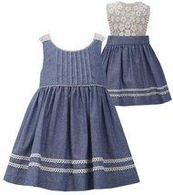 Bonnie Jean Little Girls 2T-6X Blue/Ivory Chambray Pin Tuck Lace Back Dress
