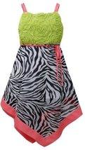 Black White Green Bonaz to Zebra Print Chiffon Hanky Hem Dress BW3SP, Black/W...