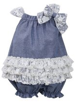 Baby Girls 3M-24M Blue Ivory Bow Shoulder Tier Lace Chambray Romper (24 Month...