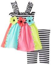 Bonnie Baby Baby-Girls Newborn Colorblock Legging Set, Black/White, 6-9 Months