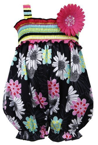 Black Multi Striped Smock Floral Print Romper BK0CH, Black, Bonnie Jean Baby-...