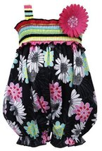 Black Multi Striped Smock Floral Print Romper BK0CH, Black, Bonnie Jean Baby-...