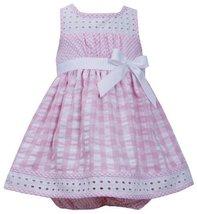 Pink White Twin Check Eyelet Trim Seersucker Dress PK0BA, Pink, Bonnie Jean B...