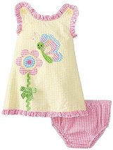 Baby Girls Newborn Butterfly Flower Crossover Fly-Away Back Seersucker Dress ...