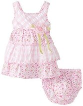 Bonnie Baby Baby-Girls Newborn Floral and Check Tiered Sundress (3-6 Months, ...