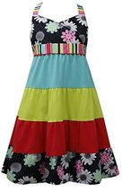 Tween Girls 7-16 Multicolor Crossover Floral to Colorblock Tier Halter Dress ...