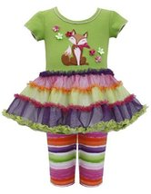 Baby Girls 12M-24M Green Multicolor Fox Applique Glitter Tutu Dress/Legging S...