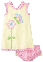 Bonnie Baby Baby Girls' Flower Appliqued Romper, Yellow, 12 Months [Apparel]