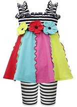 Little-Girls 2T-4T Black White Smock Colorblock Knit Dress/Legging Set (2T, B...