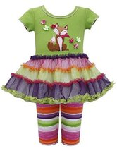 Bonnie Baby-Girls Infant Fox Appliqued Dress/Legging Set (18 Months, Green/Mu...
