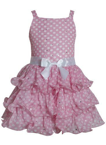 Pink White Sparkle Dot Curvy Wire Tier Chiffon Dress PK3SA, Pink, Bonnie Jean...