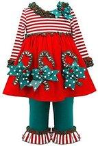 Bonnie Baby Baby-Girls 3M-24M Red/Green Applique Candy Cane Dress/Legging Set...