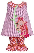 Little Girls 2T-6X Fuchsia Giraffe Applique Gingham Check Dress/Legging Set (...