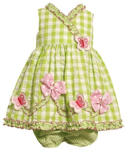 Size-12M BNJ-3178M 2-Piece LIME-GREEN WHITE RUFFLE CROSS-OVER BUTTERFLIES and...
